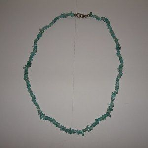 Aquamarine Chip 925 SS Clasp Necklace